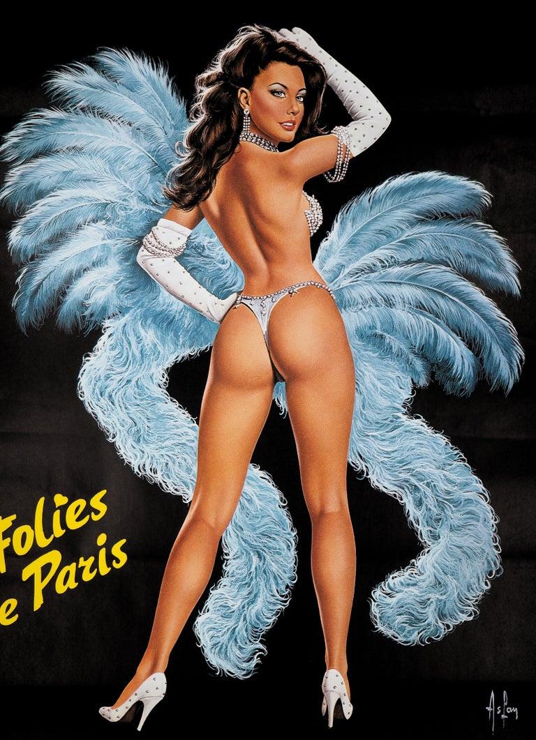 Folies Bergeres (Blue version) - Tall original vintage poster (Moulin Rouge) - Print by Aslan (Alain Gourdon called)