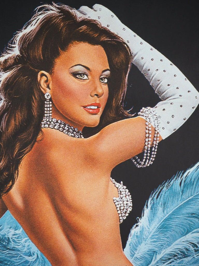 Folies Bergeres (Blue version) - Tall original vintage poster (Moulin Rouge) For Sale 1