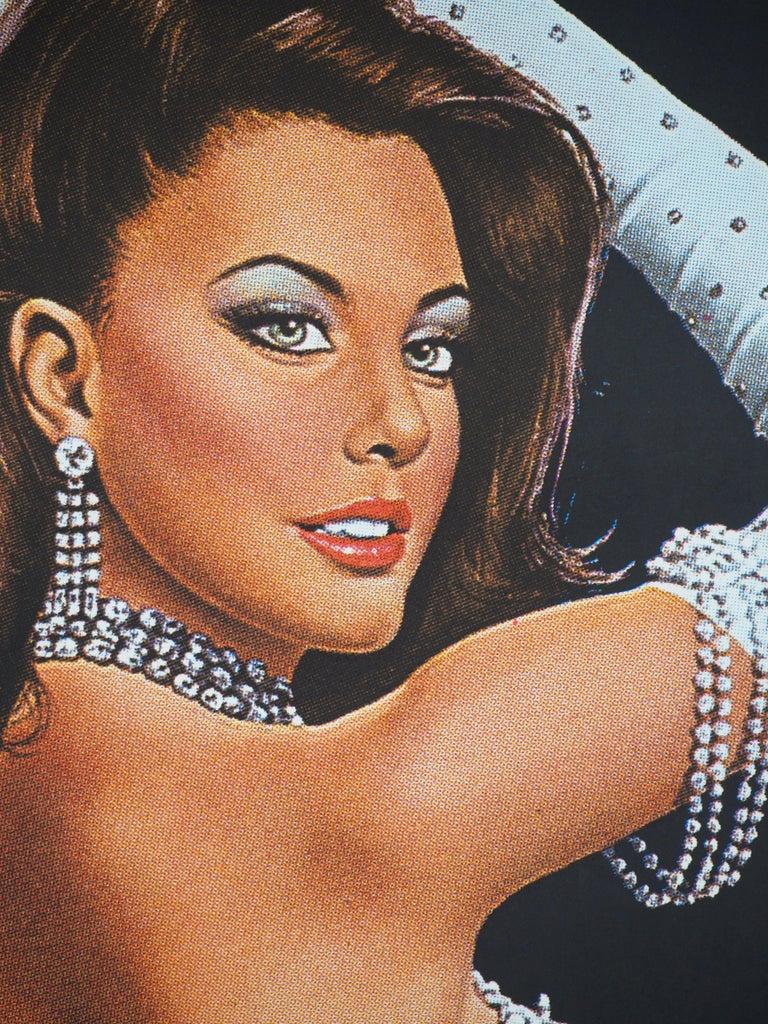 Folies Bergeres (Blue version) - Tall original vintage poster (Moulin Rouge) For Sale 2