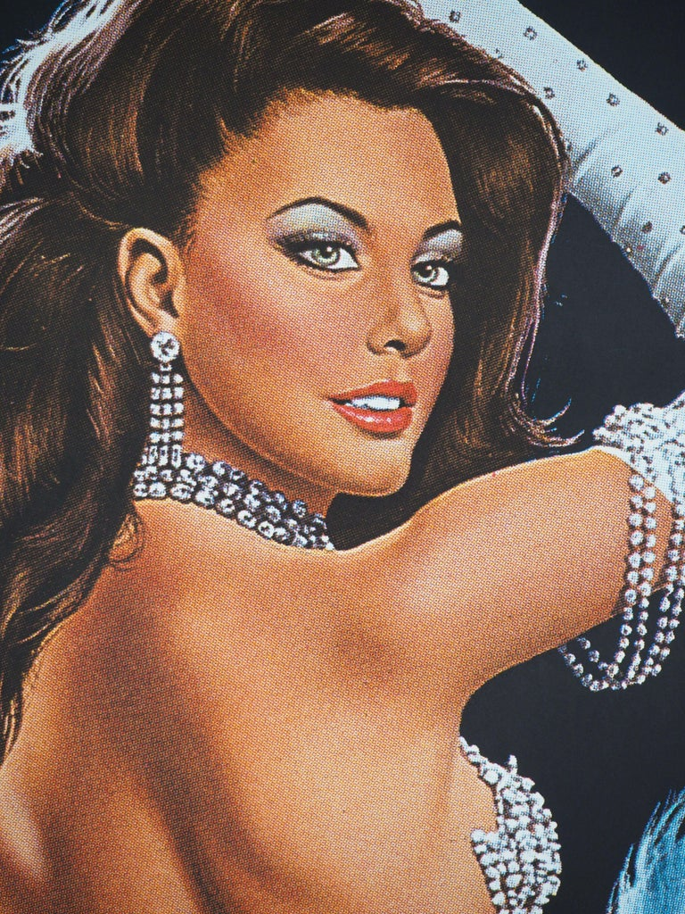 Folies Bergeres (Blue version) - Tall original vintage poster (Moulin Rouge) For Sale 3