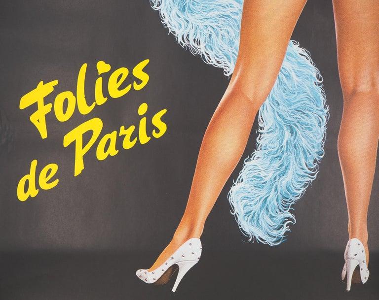 Folies Bergeres (Blue version) - Tall original vintage poster (Moulin Rouge) For Sale 5