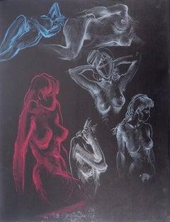 The Awakening, Six Studies of Nude - Original Signed Charcoals Drawing