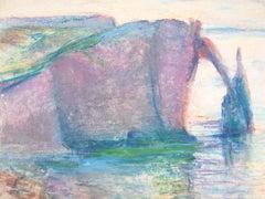 Etretat Cliff, Normandy - Original Signed Charcoals Drawing