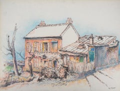 Country House in Winter - Original Signed Charcoals Drawing