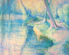 Impressionist Lake - Original Signed Charcoals Drawing