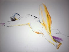 Fauvist Lying Nude - Original charcoals drawing, Signed