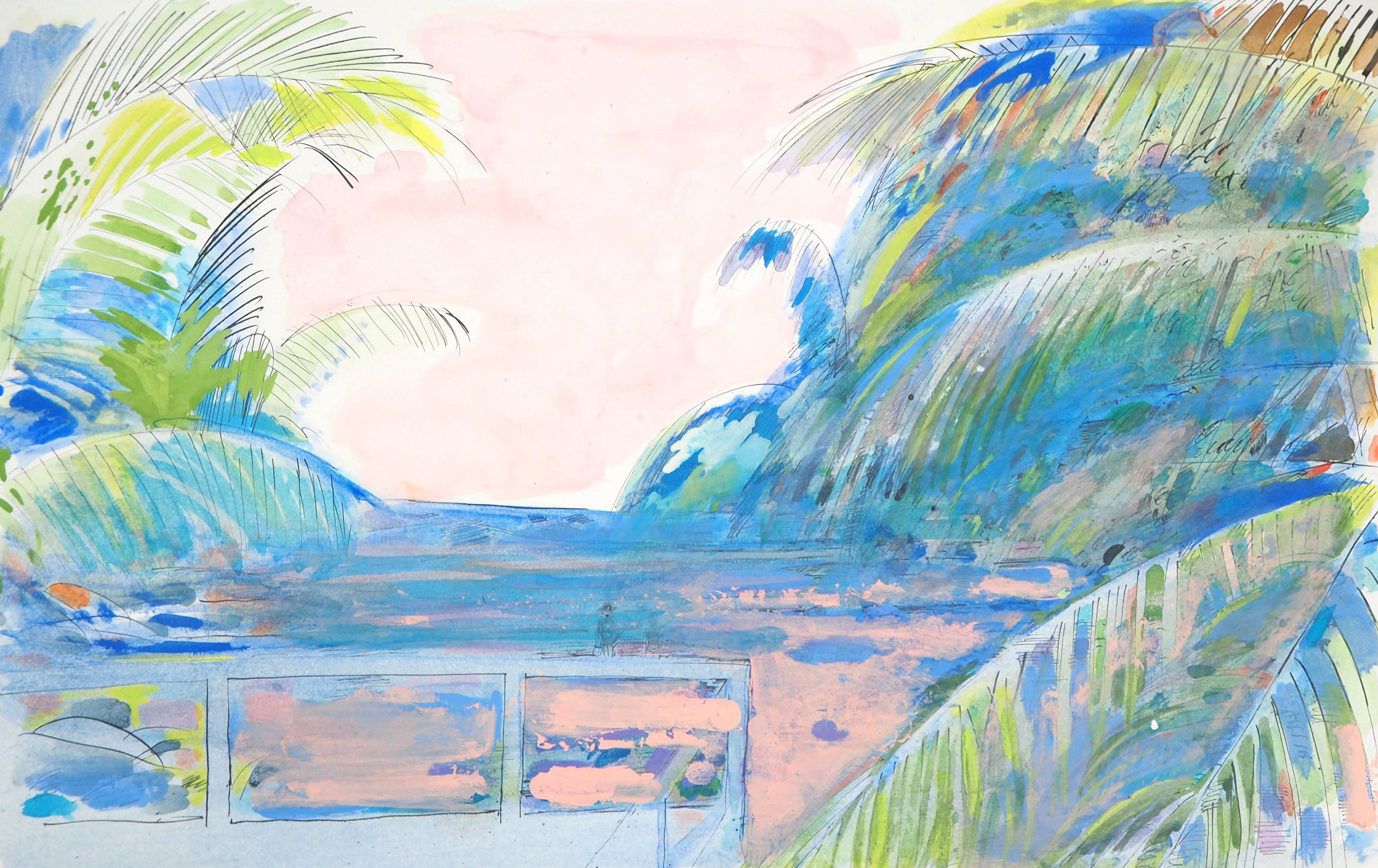 Pink Sky on the Beach - Original Handsigned Watercolor, Gouache and Ink Painting