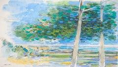 ZEN Calming Nature Scenery - Original Handsigned Watercolor and Gouache Painting
