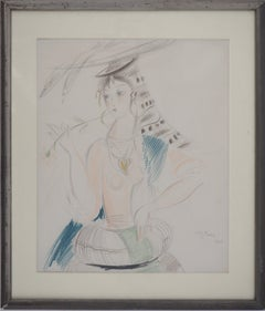 Portugal, Young Girl with Fishes - Original color drawing, Signed