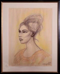 Juchiteca, 1964 Portrait Drawing by Raul Anguiano