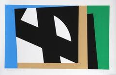 Blue, Geometric Abstract Silkscreen by Pierre Clerk 1981