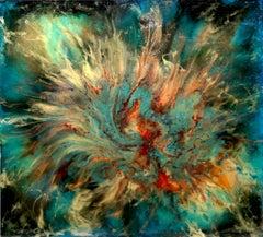 Blue Green Abstract, Large Fused Plastic Painting Lamont Ferguson
