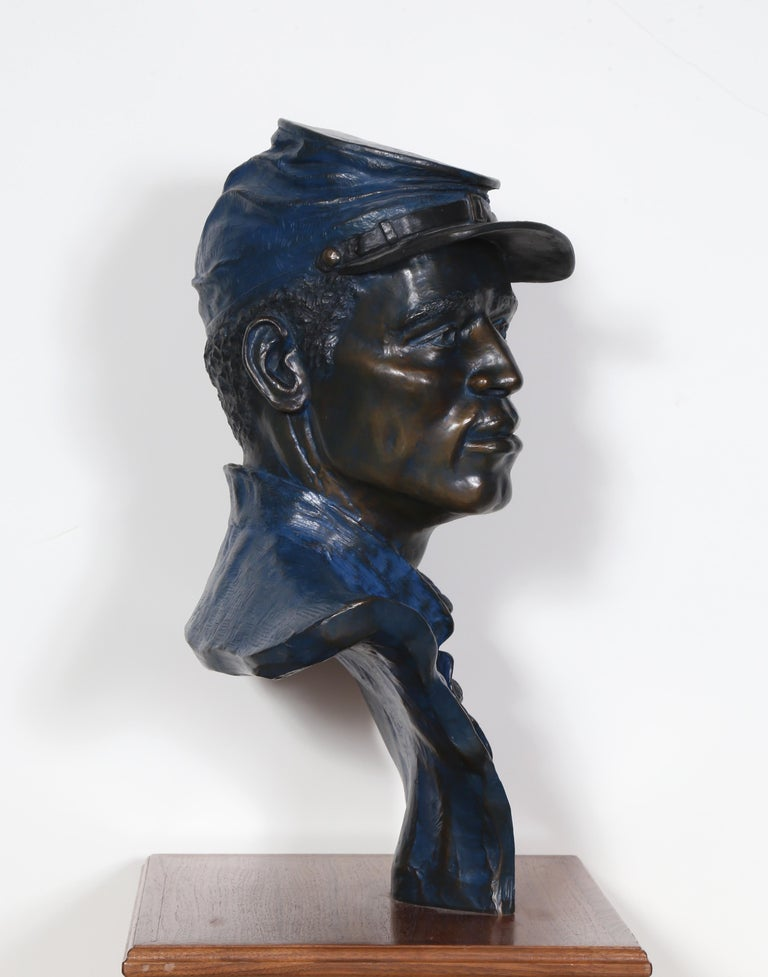 One of the 54th, Buffalo Soldier, Civil War Bronze Sculpture by Don Huntsman For Sale 1