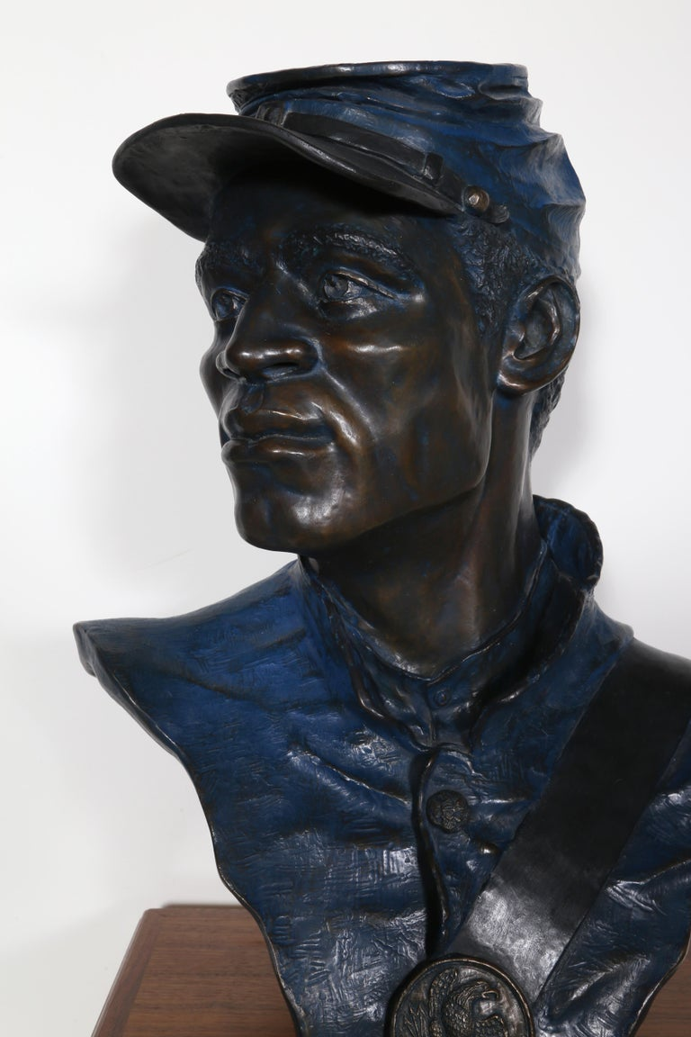 One of the 54th, Buffalo Soldier, Civil War Bronze Sculpture by Don Huntsman For Sale 3