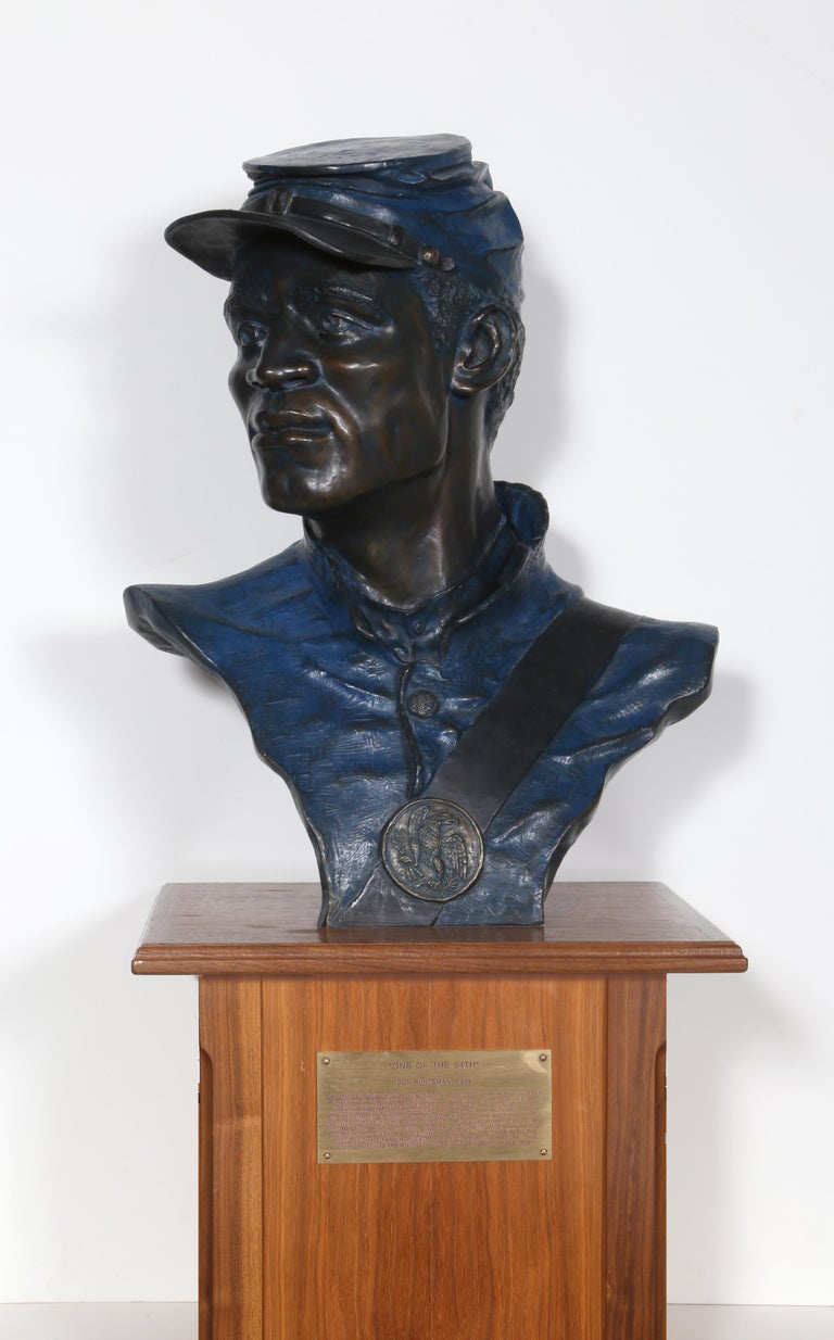 One of the 54th, Buffalo Soldier, Civil War Bronze Sculpture by Don Huntsman For Sale 6