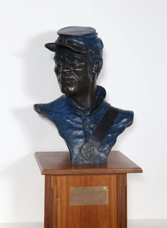 One of the 54th, Buffalo Soldier, Civil War Bronze Sculpture by Don Huntsman