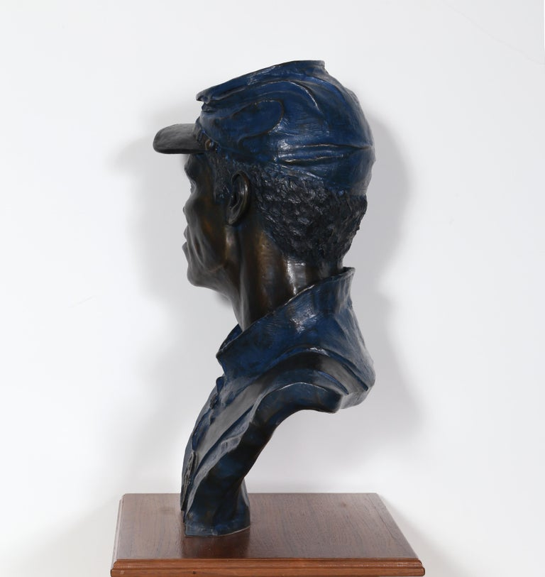 One of the 54th, Buffalo Soldier, Civil War Bronze Sculpture by Don Huntsman For Sale 7