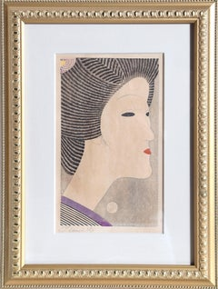 Portrait of a Geisha, Japanese Woodblock Print by Tobe Kamei c1950