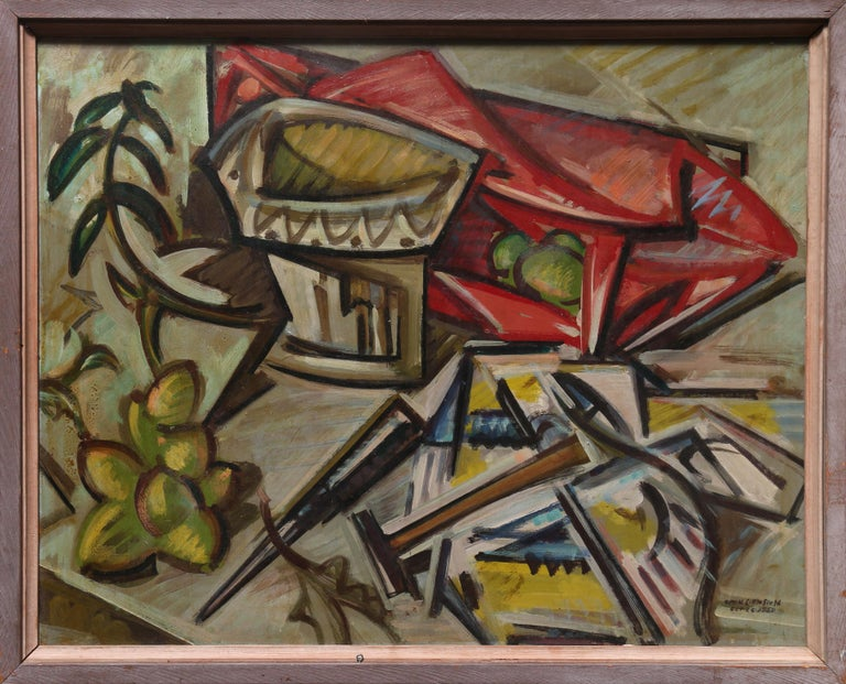 Artist: William Littlefield, American (1902 - 1969) Title:Still Life and Abstract Year: 1950 & 1954 Medium: Double-Sided Oil on Masonite, signed and dated both sides Size: 22 x 28 inches Frame: 28 x 32 inches