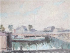 Boat Dock, Oil Painting by Eugene Stevens