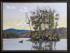 Loon on Opeonga Lake, Oil Painting by Robert Zeer