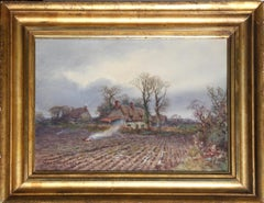 Burning  the Weeds, Watercolor Painting by Henry Stannard