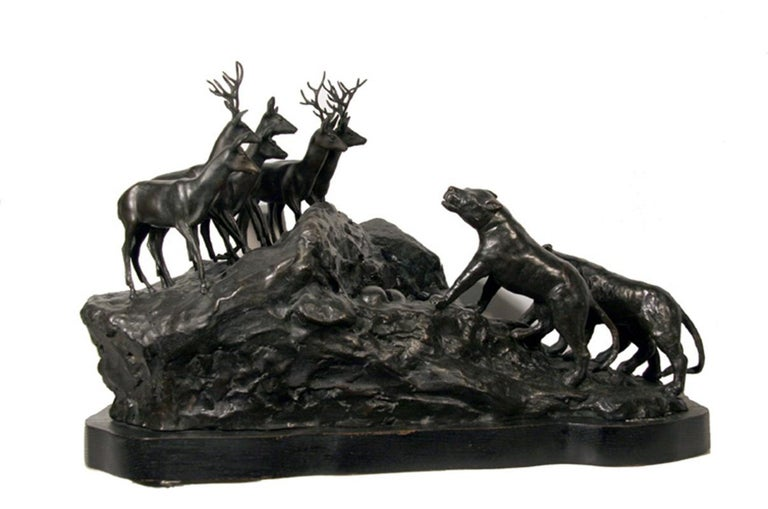 Artist: A. Ganso Title: Lions and Deer Year: 1973 Medium: Bronze Sculpture, signature inscribed Size: 23 x 15 x 13 inches (58.5 x 38 x 33 cm)