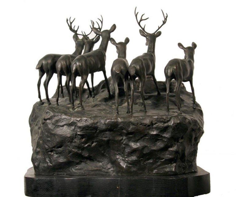 Lions and Deer, Bronze Sculpture by A. Ganso  For Sale 1