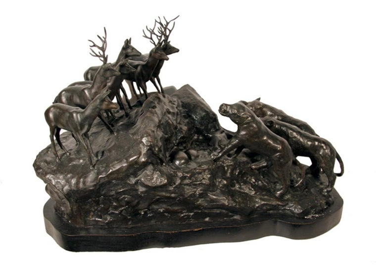 Lions and Deer, Bronze Sculpture by A. Ganso  For Sale 2