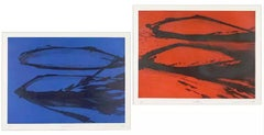 A Pair of Abstract Aquatint Etchings by Sydney Drum 1980