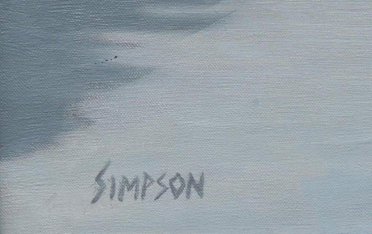Winter, George Washington Bridge, Oil Painting by Allan Simpson For Sale 1