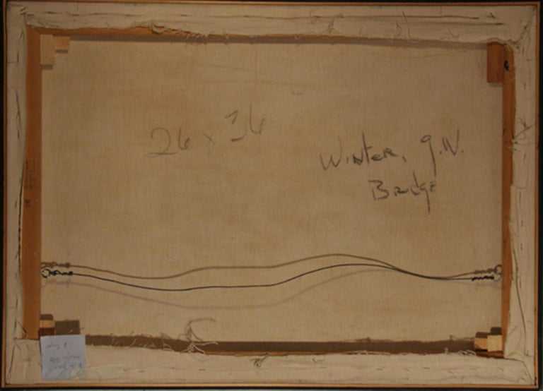 Winter, George Washington Bridge, Oil Painting by Allan Simpson For Sale 2