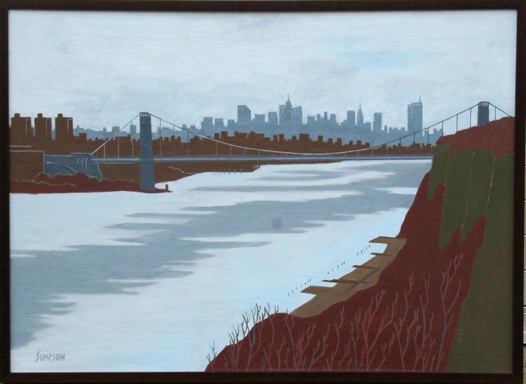 Artist: Allan Simpson, American (1935 -  ) Title: Winter, George Washington Bridge Year: 1996 Medium: Oil on Canvas, signed Size: 36 x 48 inches