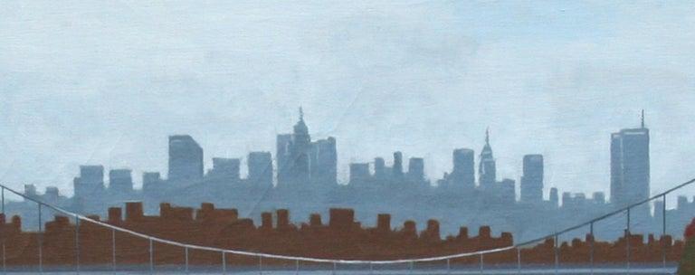 Winter, George Washington Bridge, Oil Painting by Allan Simpson For Sale 3