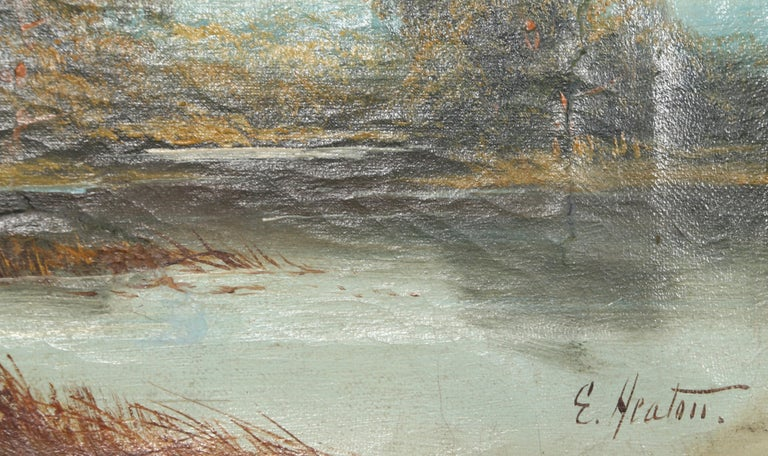 Landscape with Cottage, Oil Painting by Edward Heaton  For Sale 2