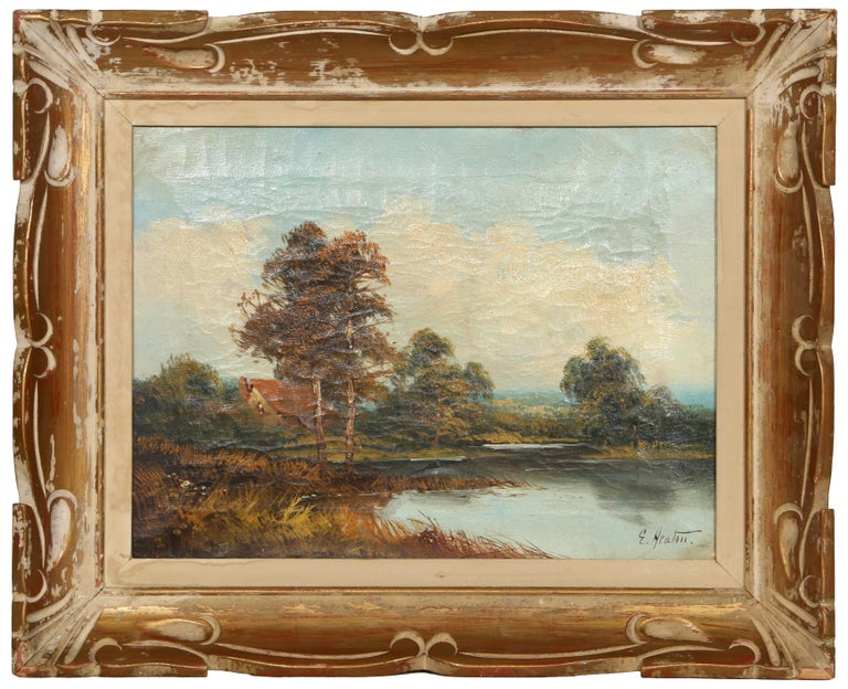 Artist: Edward Heaton, American (1824 - ) Title: Landscape with Cottage Medium: Oil on Canvas, signed lower right Size: 12 x 16 in. (30.48 x 40.64 cm) Frame Size: 17.5 x 21.5 inches