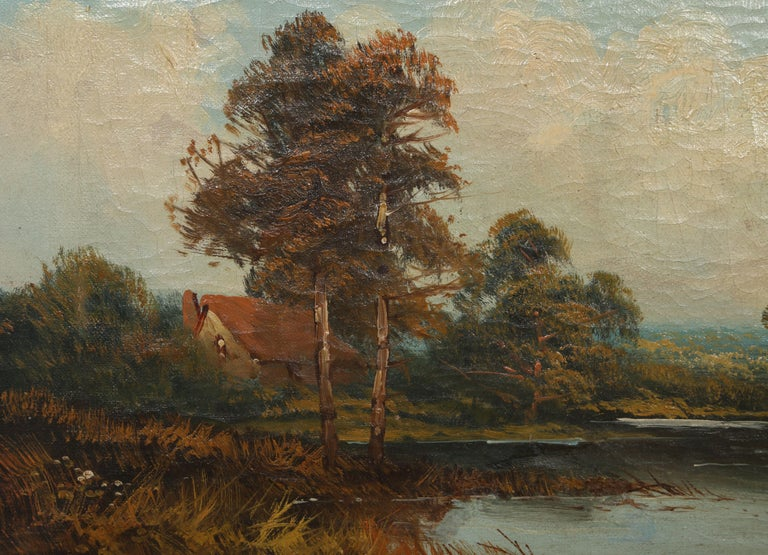 Landscape with Cottage, Oil Painting by Edward Heaton  For Sale 4