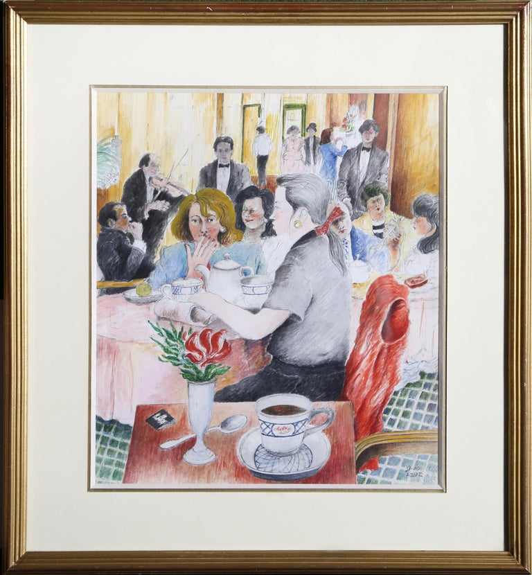 Artist: David Azuz, Israeli/French (1942 - 2014) Title: The Plaza Hotel Year: 1988 Medium: Watercolor on Paper, signed Image Size: 14 x 12 inches Frame Size: 20.5 x 18.5 inches