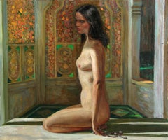 Nude Woman Seated by Stained Glass, Oil Painting by Marshall Goodman