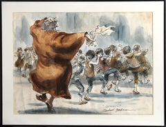 Fagin Teaching Boys to Steal, Original Illustration from Oliver