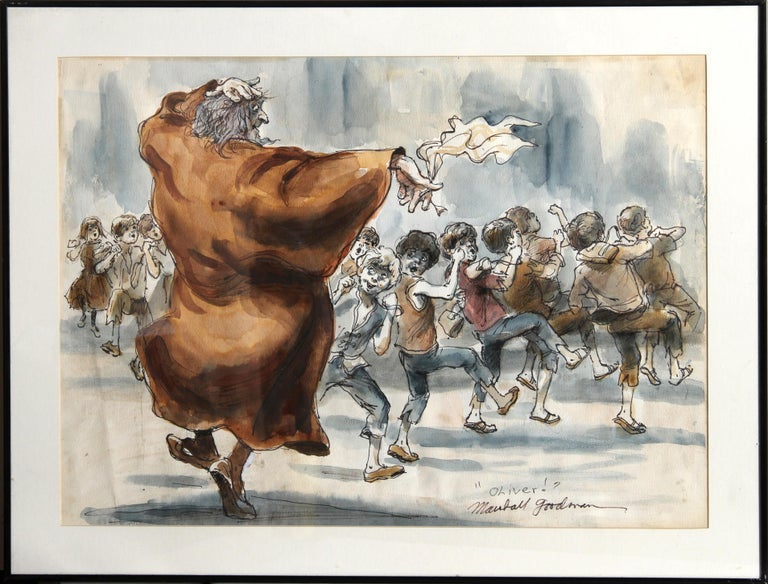 Marshall Goodman Figurative Art - Fagin Teaching Boys to Steal, Original Illustration from Oliver