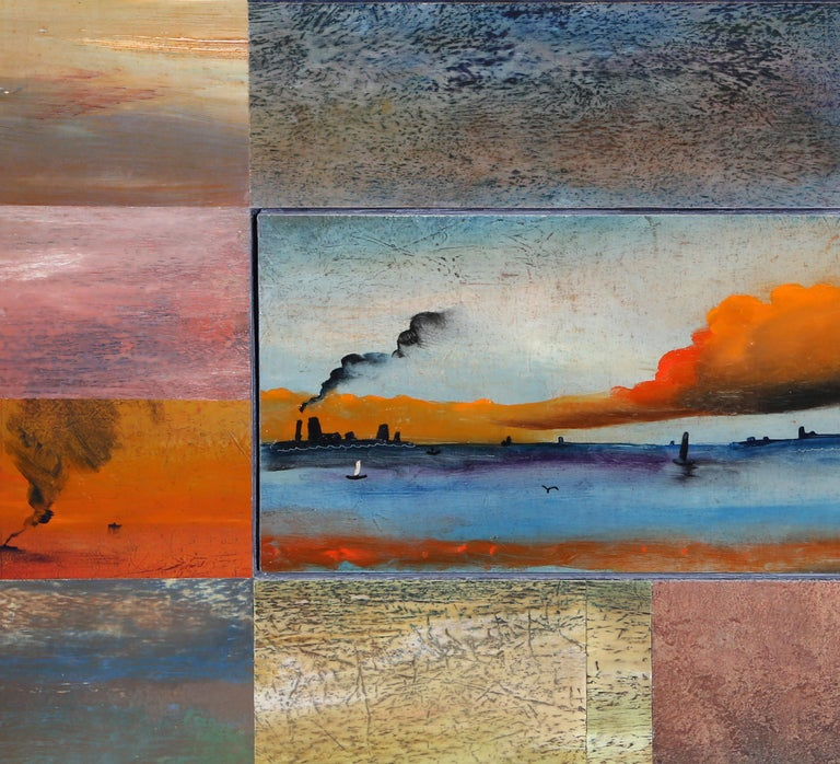 Artist: Vladimir German, Russian/American (1940 - ) Title: Far Rockaway Seascape Year: 1988 - 89 Medium: Oil on Paper mounted on Board, signed verso Size: 18.5 in. x 26.25 in. (46.99 cm x 66.68 cm)