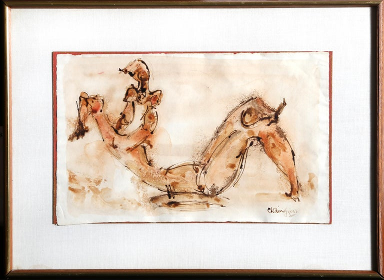 Artist: Chaim Gross, Austrian (1904 - 1991) Title: Mother Playing Medium: Watercolor on Paper, signed l.r. Size: 11 x 17.75 in. (27.94 x 45.09 cm) Frame Size: 18.5 x 25 inches