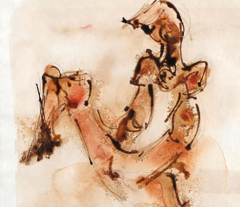 Mother Playing, Watercolor by Chaim Gross For Sale 2