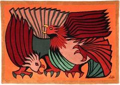 Orange Fighting Cocks, Woolen Rug Tapestry by Victor Delfin