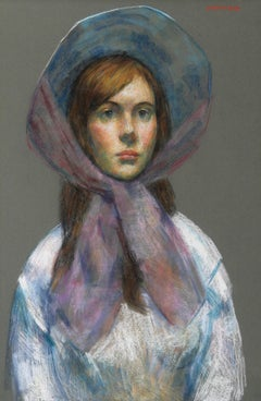 Girl with Bonnet, Pastel Portrait by Thomas Strickland