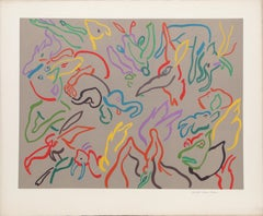 Spring Song, Playful Animal Abstract Lithograph by Susan Elias