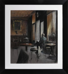 Man Reading in a Cafe, Pastel Portrait by Harry McCormick