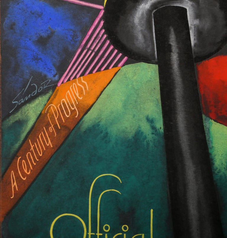 World's Fair 1934 (Chicago), Art Deco Drawing by A. Raymond Katz - Black Figurative Art by Alexander Raymond Katz