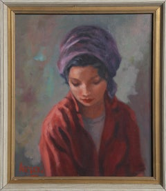Portrait of a Woman in a Purple Head Scarf